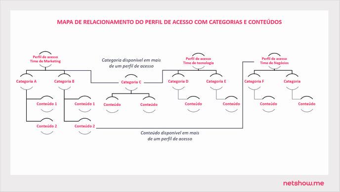 MAPA DE RELACIONAMENTO DO PERFIL DE ACESSO COM CATEGORIAS E CONTEÚDOS  - COMO CRIAR PERFIL DE ACESSO ART39 P79
