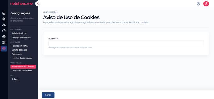 aviso de uso de cookies gerenciador